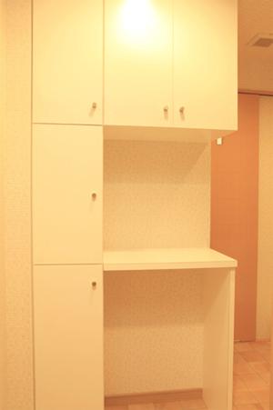 新しく設けられた洗面室の収納棚